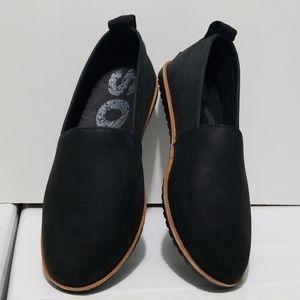 Sorel Black Oiled Leather Ella Slip-on Shoes 8